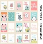 collection of cute artistic... | Shutterstock .eps vector #615335087