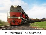 freight train locomotive... | Shutterstock . vector #615339065