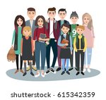 young students group. school... | Shutterstock .eps vector #615342359