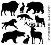 black vector outline wild...   Shutterstock .eps vector #615342494