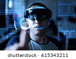 trying virtual reality with... | Shutterstock . vector #615343211