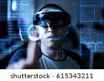 young  men trying virtual... | Shutterstock . vector #615343211