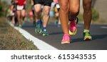 marathon running in the light... | Shutterstock . vector #615343535