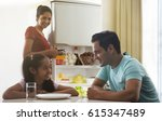 father and daughter having... | Shutterstock . vector #615347489