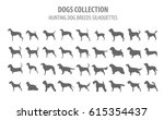 hunting dog breeds collection... | Shutterstock .eps vector #615354437