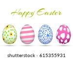 happy easter. set of easter... | Shutterstock .eps vector #615355931