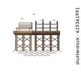 sea pier vector illustration.... | Shutterstock .eps vector #615361991