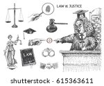 law  justice and police set.... | Shutterstock .eps vector #615363611