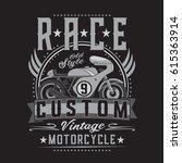 motorcycle race typography  tee ... | Shutterstock .eps vector #615363914