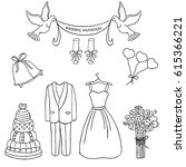 wedding theme  pattern. cute... | Shutterstock . vector #615366221