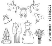 wedding theme  pattern. cute... | Shutterstock . vector #615366221