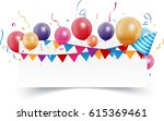 birthday celebration banner | Shutterstock .eps vector #615369461
