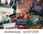 Small photo of Bratislava, Slovakia, circa april 2017: Magic the Gathering Booster packs with Aether Revolt in the front
