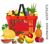 healthy fruits and vegetarian...   Shutterstock .eps vector #615375371