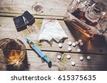 overhead shot of hard drugs and ... | Shutterstock . vector #615375635