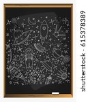 set of space objects and... | Shutterstock .eps vector #615378389