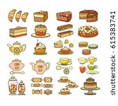 confectionery icon. set of cute ... | Shutterstock .eps vector #615383741