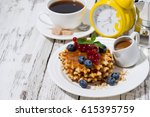 waffles with berries and...   Shutterstock . vector #615395759