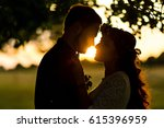 beautiful wedding couple at... | Shutterstock . vector #615396959
