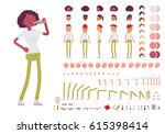 teenager girl character... | Shutterstock .eps vector #615398414