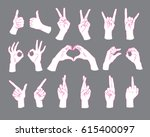 gesture set. female hands... | Shutterstock .eps vector #615400097