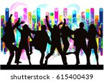 dancing people silhouettes.... | Shutterstock .eps vector #615400439