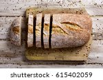 high angle shot of a loaf of... | Shutterstock . vector #615402059