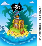 small island with chest and... | Shutterstock . vector #61540264
