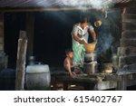 vietnamese mom and kid cooking...   Shutterstock . vector #615402767
