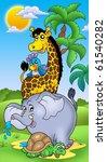 group of happy african animals  ... | Shutterstock . vector #61540282