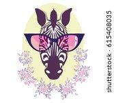 zebra with glasses   vector ... | Shutterstock .eps vector #615408035