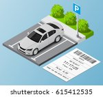 isometric parking ticket and... | Shutterstock .eps vector #615412535