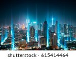 modern city with wireless... | Shutterstock . vector #615414464