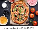 pizza with tomato  salami and... | Shutterstock . vector #615415295