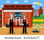male and female technician... | Shutterstock .eps vector #615416177