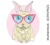 rabbit with glasses   vector... | Shutterstock .eps vector #615419621