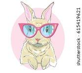 rabbit with glasses   vector... | Shutterstock .eps vector #615419621
