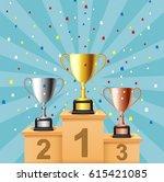 podium winners. vector... | Shutterstock .eps vector #615421085