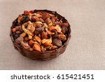 Dry Fruits In A Wicker Cup....