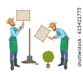 cartoon bearded man  green... | Shutterstock .eps vector #615421775