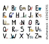 hand drawn animal alphabet for...   Shutterstock .eps vector #615421931
