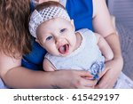 little baby girl with blue eyes ... | Shutterstock . vector #615429197
