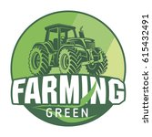 farming sign green eco tractor... | Shutterstock .eps vector #615432491