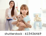 little girl with teddy bear and ...   Shutterstock . vector #615436469
