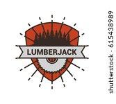 lumberjack logo design template ... | Shutterstock .eps vector #615438989