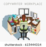 copywriter workplace. writer at ... | Shutterstock .eps vector #615444314