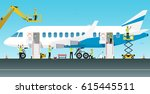 aviation engineer workers are... | Shutterstock .eps vector #615445511