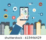 mobile gps navigation on mobile ... | Shutterstock .eps vector #615446429