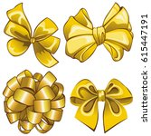 vector of set with golden bows...   Shutterstock .eps vector #615447191