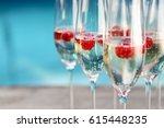champagne glasses with... | Shutterstock . vector #615448235